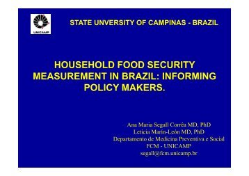 HOUSEHOLD FOOD SECURITY MEASUREMENT IN BRAZIL ...