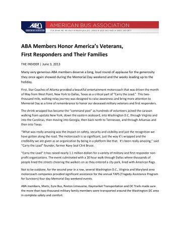 ABA Members Honor America's Veterans, First Responders and ...
