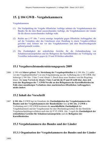 15. § 104 GWB - Vergabekammern - Oeffentliche Auftraege