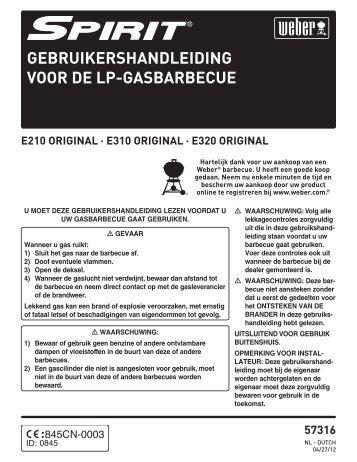 GEBRUIKERSHANDLEIDING VOOR DE LP-GASBARBECUE - Weber