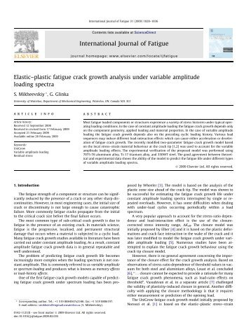 Stress Analysis and Fatigue of Welded Structures - Mechanical and ...