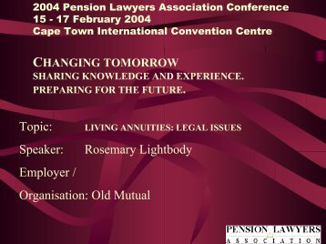 living annuities: legal issues - Pension Lawyers Association of South ...