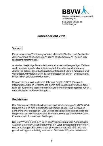 Jahresbericht 2011 - Blinden- und Sehbehindertenverband ...
