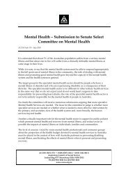 Submission to Senate Select Committee on Mental Health