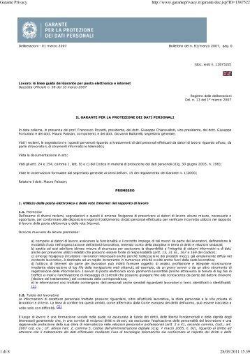 Garante Privacy – Deliberazione 01 marzo 2007 ... - Appalti e Contratti