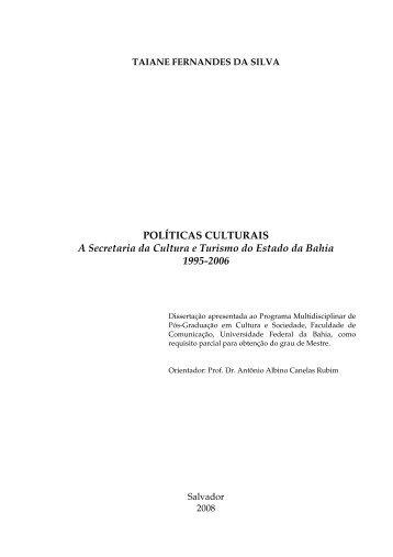 POLÍTICAS CULTURAIS A Secretaria da Cultura e ... - Itaú Cultural