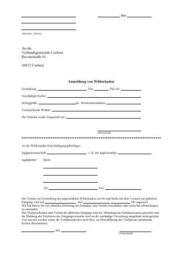 Vordruck Anmeldung Wildschaden - Verbandsgemeinde Cochem