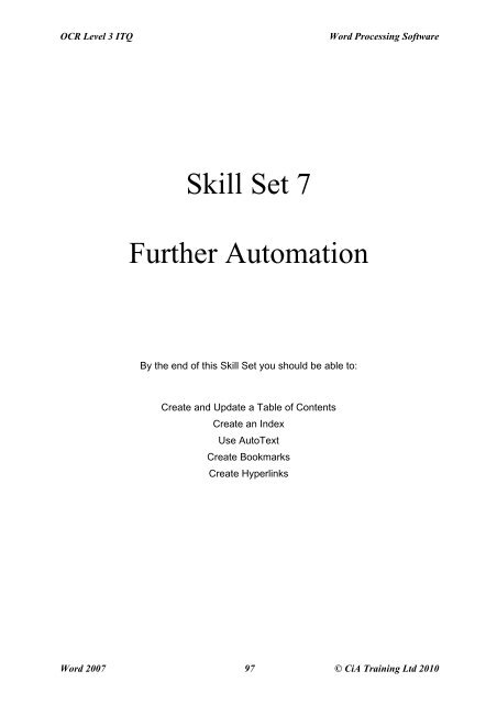 OCR Level 3 ITQ: Unit 79 - Word Processing Software