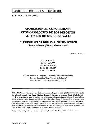 Aportación al conocimiento geomorfológico de los ... - ingeba