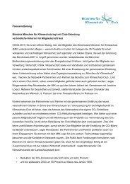 Pressemitteilung Bündnis München für Klimaschutz legt mit Club ...