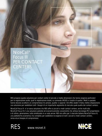 NiceCall® Focus III PER CONTACT CENTERS - RES