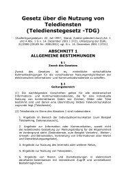 Gesetz über die Nutzung von Telediensten (Teledienstegesetz -TDG)