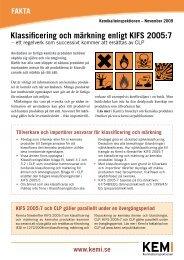 Faktablad om klassificering och märkning enligt KIFS 2005:7