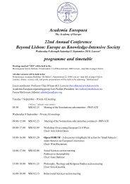 programme and timetable - Academia Europaea