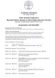 programme and timetable - Academia Europaea