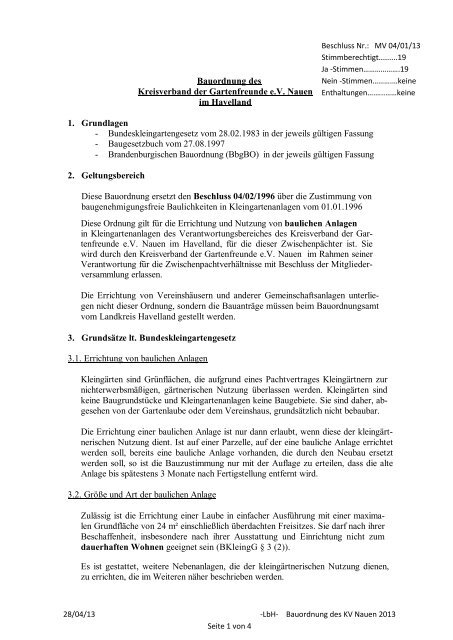 Bauordnung des Kreisverband der Gartenfreunde e.V. Nauen im ...