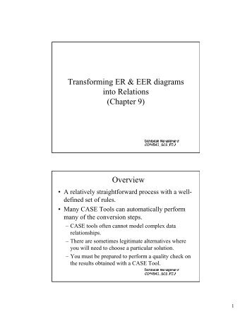 Transforming ER & EER diagrams into Relations (Chapter 9) Overview