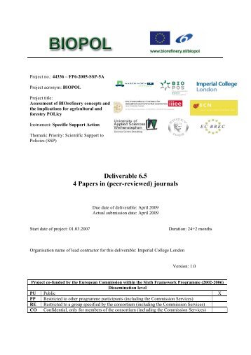 Deliverable 6.5 4 Papers in (peer-reviewed) journals - Biorefinery