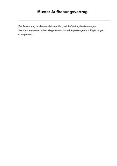 Muster Aufhebungsvertrag Ihk Mittlerer Niederrhein