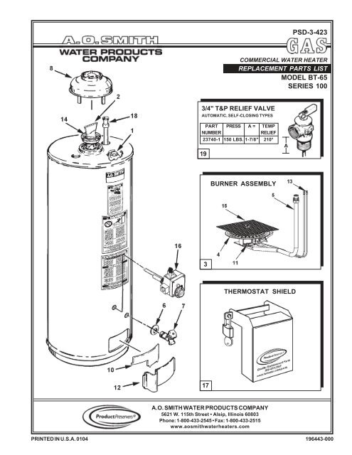 Psd 3 423 Model Bt 65 Series 100 Ao Smith Water Heaters