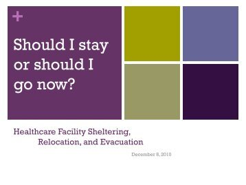 Shelter-in-Place, Relocate Internally, or Evacuation