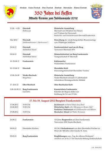 350 Jahre bei Hessen - Geschichtsverein Eberstadt - Frankenstein