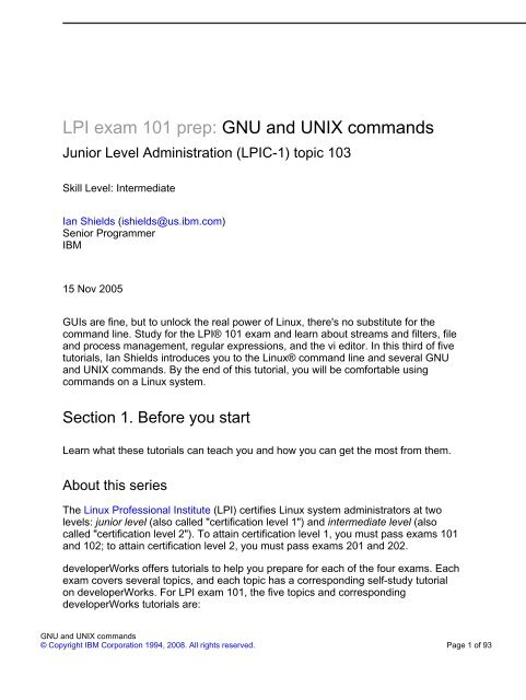 LPI exam 101 prep: GNU and UNIX commands - CICT server