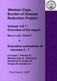 Burden of Disease Reduction Project - Western Cape Government