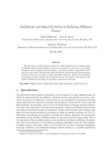 Oscillations and Island Evolution in Radiating Diffusion Flames