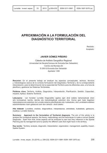 Aproximación a la formulación del diagnóstico territorial - ingeba