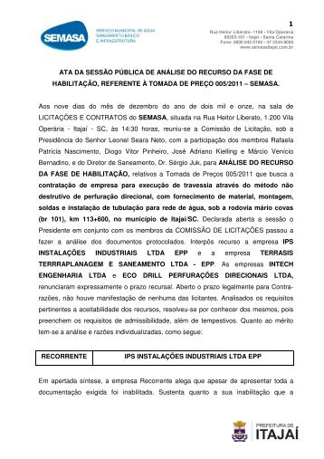 Ata de Julgamento dos Recursos - COMISSÃO DE ... - SEMASA