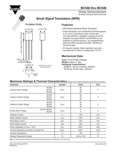 Transistor npn datasheet