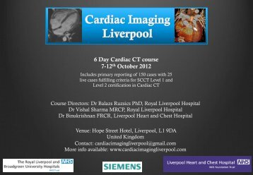 6 Day Cardiac CT course 7-12th October 2012