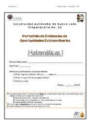 Matemáticas 1 Período: Agosto – Diciembre / 2012 - Preparatoria 22