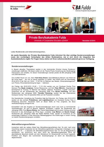Newsletter 02/2010 - Private Berufsakademie Fulda