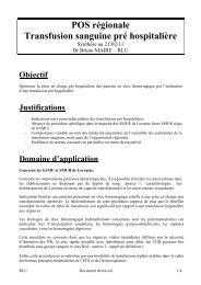 POS régionale transfusion sanguine pré hospitalière - COLMU