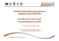 Il FEASR 2014-2020. Le sfide per le aree rurali. La consultazione ...