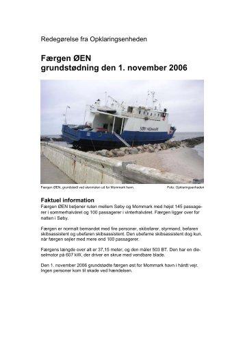 Færgen ØEN grundstødning den 1. november 2006