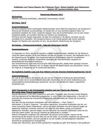 Publikation zum Thema Miasma. Die 3 Miasmen Psora- Sykose ...