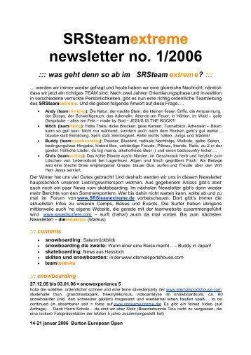 SRSteamextreme newsletter no. 1/2006 ::: was geht denn so ab im ...