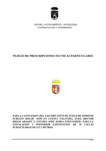 pliego de prescripciones tecnicas - Ayuntamiento de Antequera