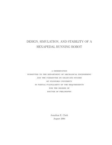 design, simulation, and stability of a hexapedal running robot