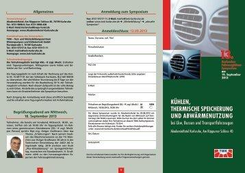 Kühlen, thermische Speicherung und Abwärmenutzung bei ... - TWK
