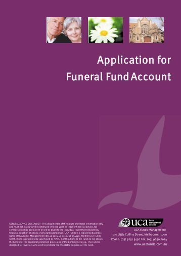 Funeral Fund Application Form - UCA Funds Management