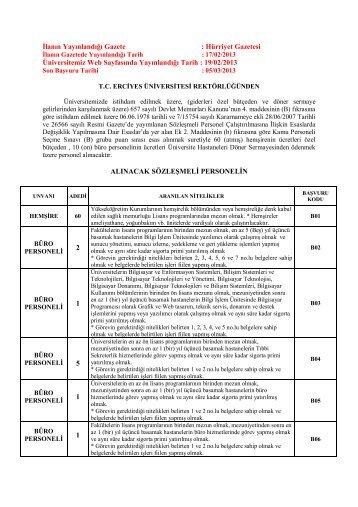 17 Şubat 2013 tarihli ilan için tıklayınız - Erciyes Üniversitesi