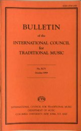 Oct 1999 - International Council for Traditional Music