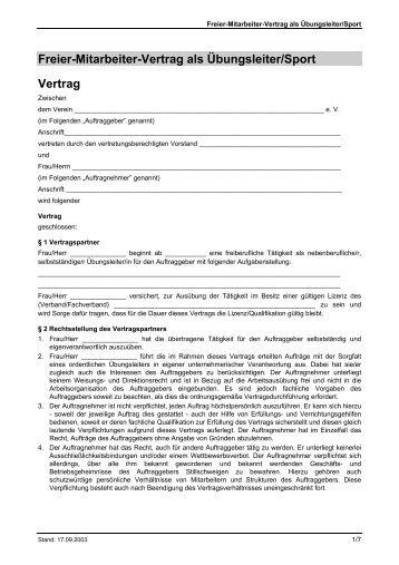 Vertrag Mit Nebenberuflichem Angestellten übungsleiter