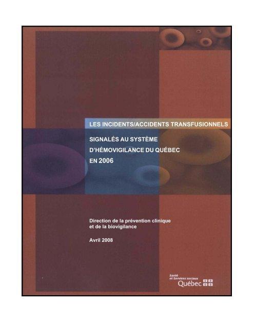 Les incidents et les accidents transfusionnels signalés au système d ...