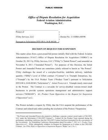 Office of Dispute Resolution for Acquisition - FAA