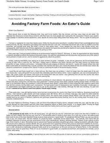 Avoiding Factory Farm Foods: An Eater's Guide